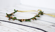 Simple Gold and Green Leaf Flower Girl Crown Wedding Halo Woodland Bridal Minimalist