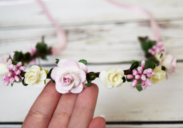 Handcrafted Pastel Pink and Ivory Flower Girl Crown