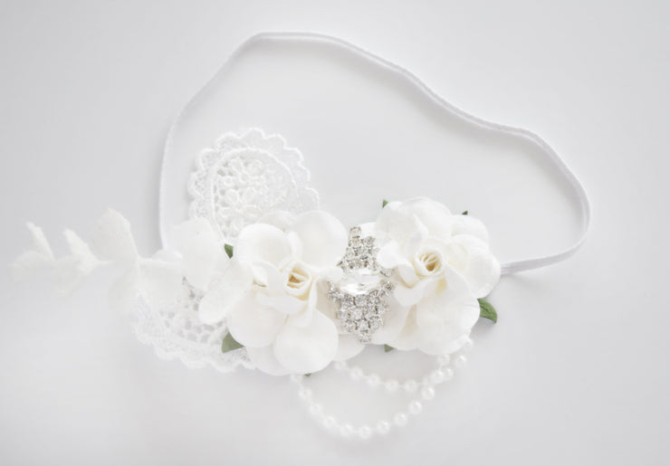 Handcrafted White Rose Baby Girl Headband