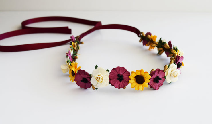 Burgundy Anemone Yellow Sunflower and Ivory Rose Flower Crown