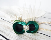 Handcrafted Emerald Champagne and Black Princess Anna Hair Clip