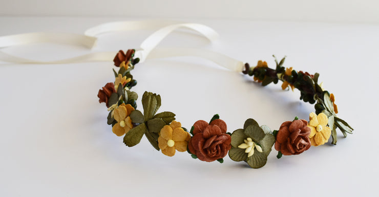 Handcrafted Earth Tone Flower Crown