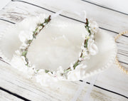 Handcrafted White Rose and Pearl Flower Girl Crown