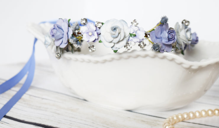 Handcrafted Periwinkle Purple and Ice Blue Elsa Flower Crown