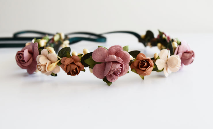 Handcrafted Fall Mauve and Copper Flower Crown