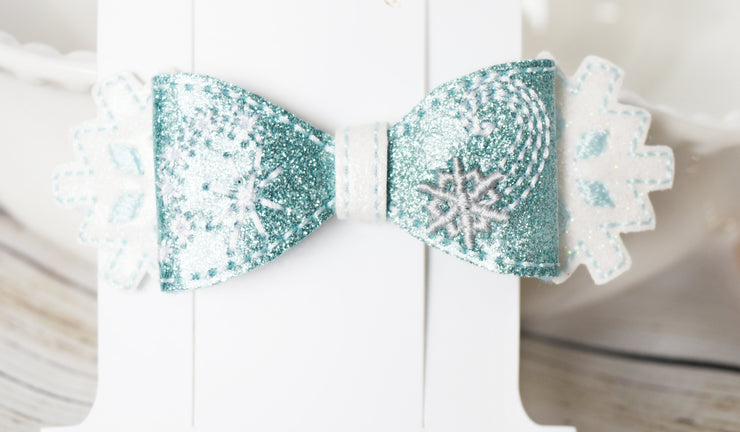 Handcrafted Elsa Snowflake Glitter Bow