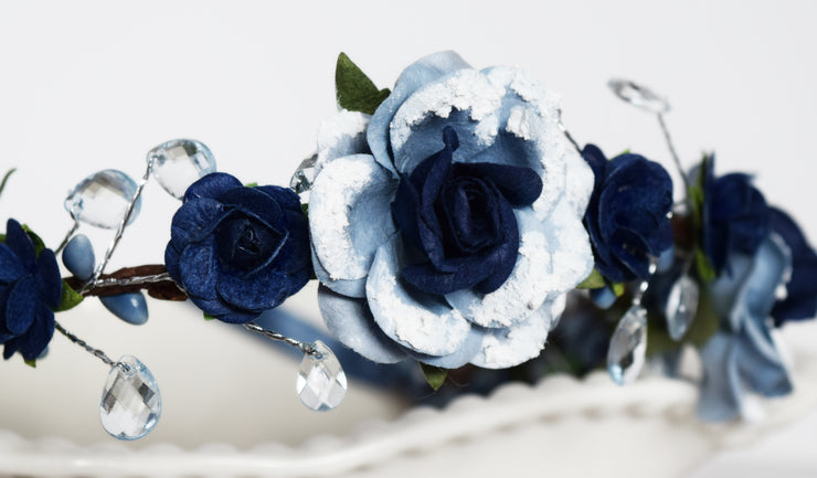 Handcrafted Snow Dusted Navy and Dusty Blue Teardrop Flower Girl Crown