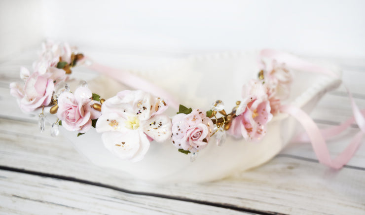 Handcrafted Light Pink Teardrop Rhinestone Flower Girl Crown