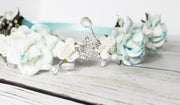 Handcrafted Elsa Aqua and White Snowflake Flower Girl Crown