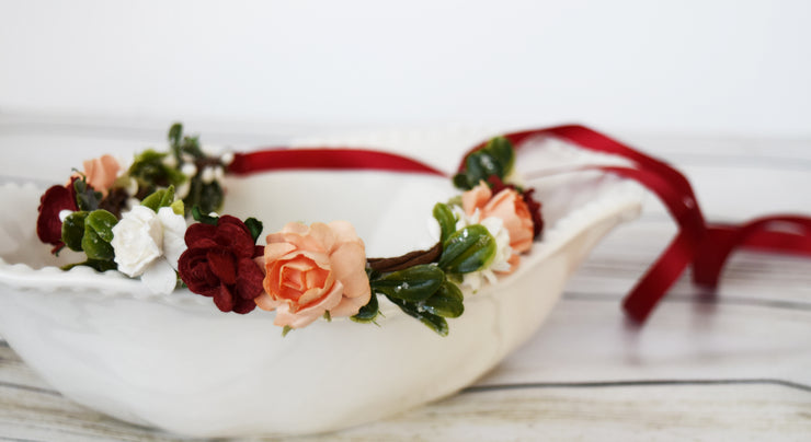 Handcrafted Evergreen Red Peach and White Flower Girl Crown