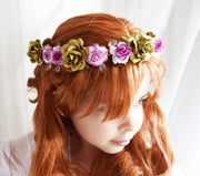 Princess Anna Flower Crown Teardrop Crystal Fuchsia Purple and Gold Floral Crown Frozen Girl Gifts
