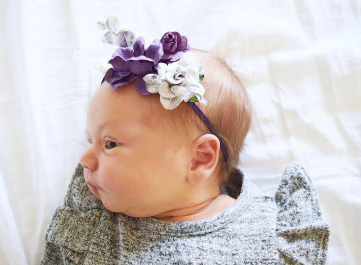 Handcrafted Sweet Plum and Gray Baby Headband