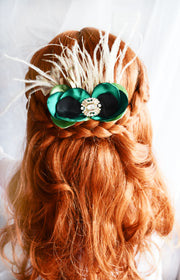 Princess Ana Green and Champagne Gold Hair Clip Frozen Girl Bow Gift Fancy Vintage Style Sage Black