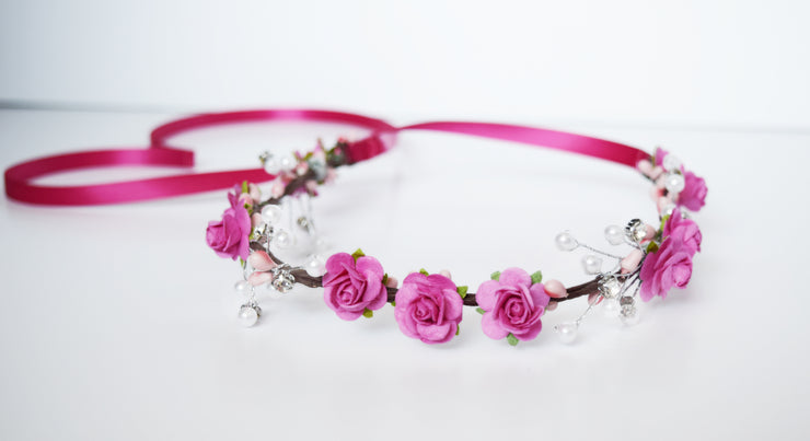 Handcrafted Hot Pink Pearl Flower Crown