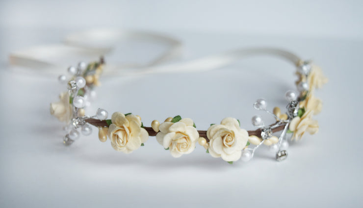 Handcrafted Ivory Cream Pearl Flower Crown