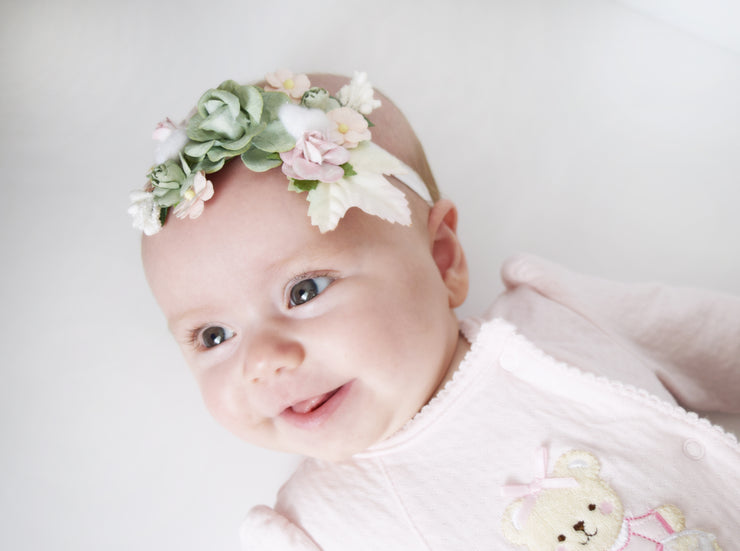 Handcrafted Sage Green and Blush Pink Headband