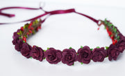 Handcrafted Burgundy Rose Flower Crown
