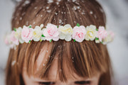 Handcrafted Ivory and Pink Flower Girl Crown