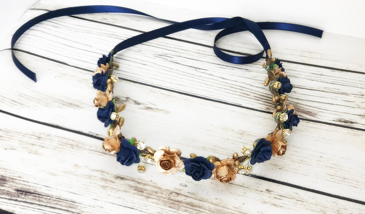 Handcrafted Elegant Navy Blue and Gold Flower Crown