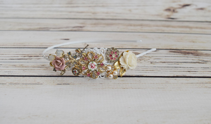Blush Shabby Chic Wedding Hair Vintage Jewelry Collection Headband White Side Tiara Dragonfly Collector Ivory Rose Headpiece Adult