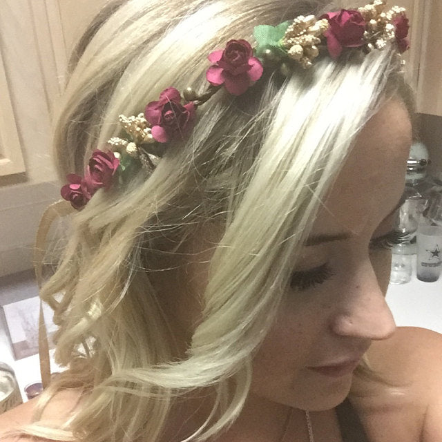 Handcrafted Burgundy and Gold Flower Crown