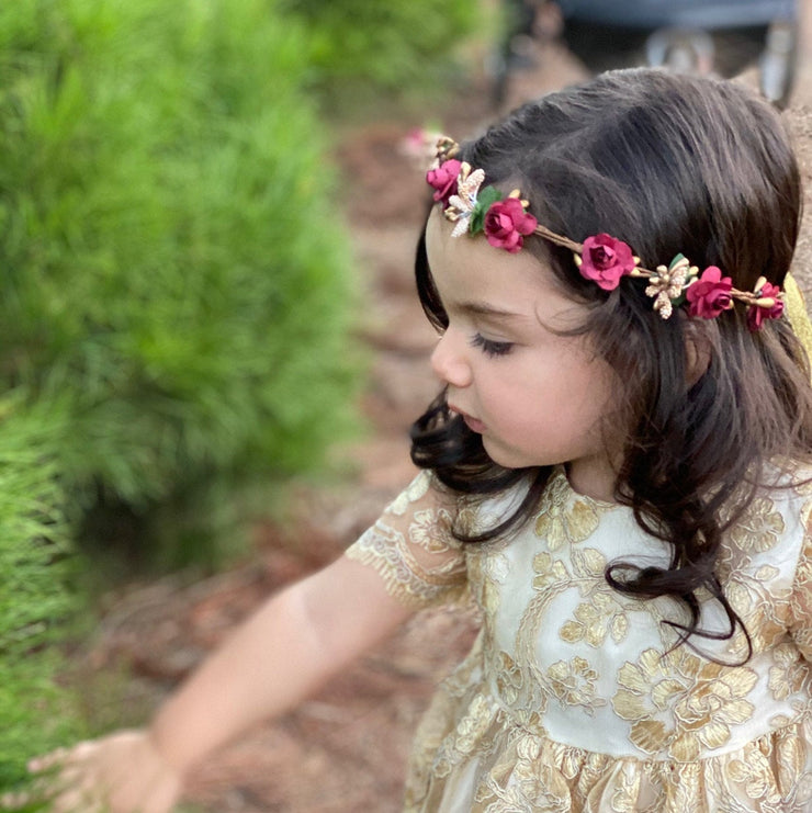Handcrafted Burgundy and Gold Flower Girl Crown
