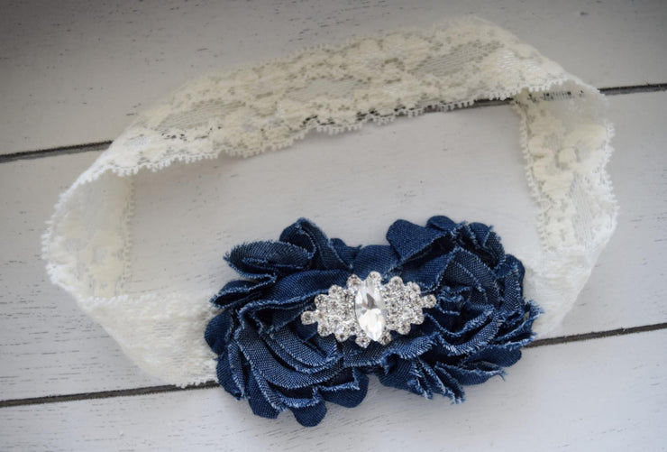 Handcrafted Denim and Lace Flower Headband