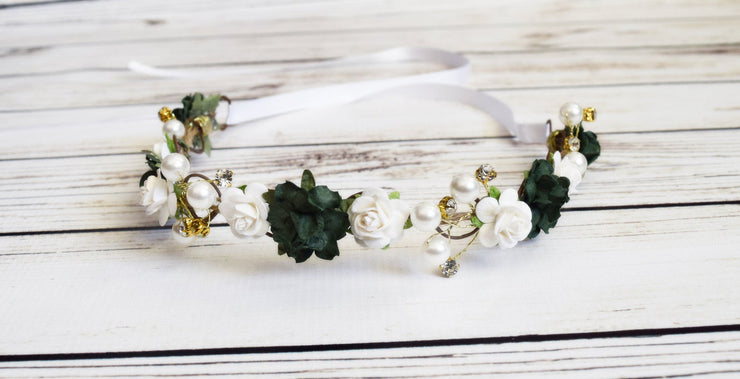 Handcrafted Dark Green and White Flower Crown
