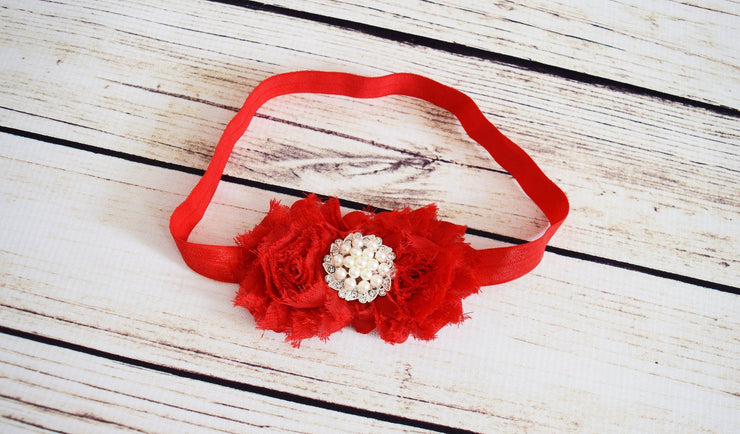Handcrafted Holiday Red Rose and Pearl Soft Headband