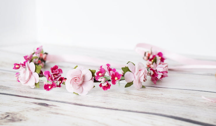 Handcrafted Pink Rose Blossom Flower Crown