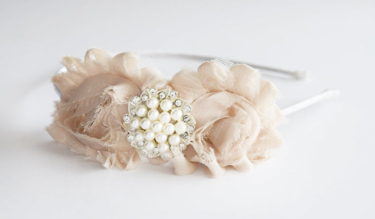Handcrafted Soft Beige Flower Headband