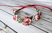Handcrafted Holiday Rose Flower Girl Crown