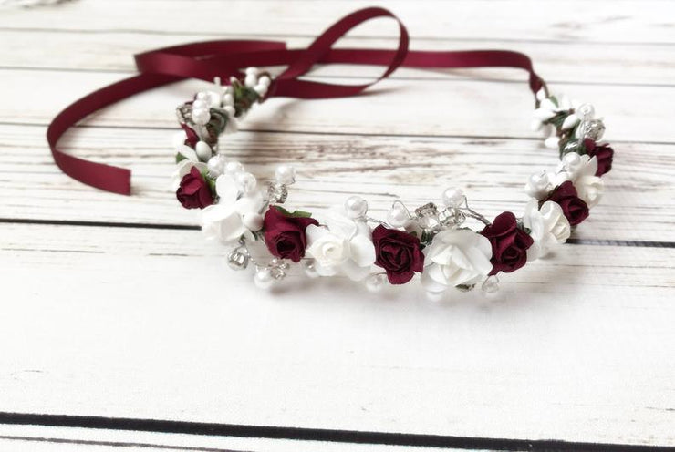 Handcrafted Burgundy and White Pearl Flower Girl Crown