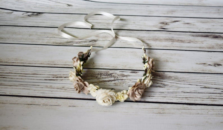 Handcrafted Rustic Beige and Ivory Flower Girl Crown