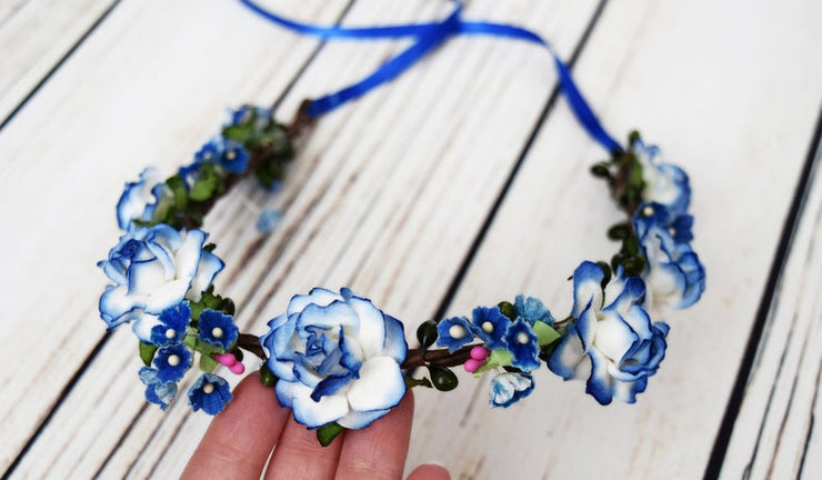 Handcrafted White and Royal Blue Flower Girl Crown