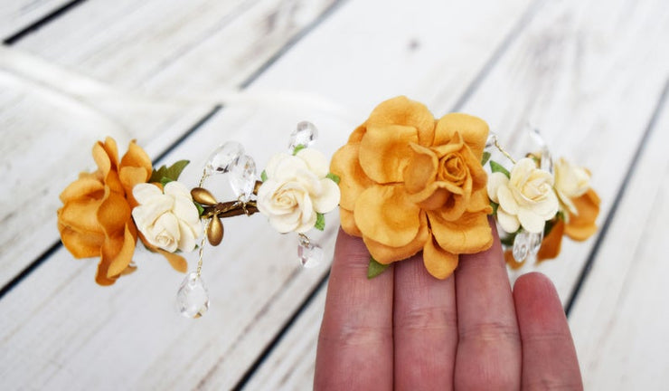 Fall Amber Honey and Cream Teardrop Crystal Flower Girl Crown