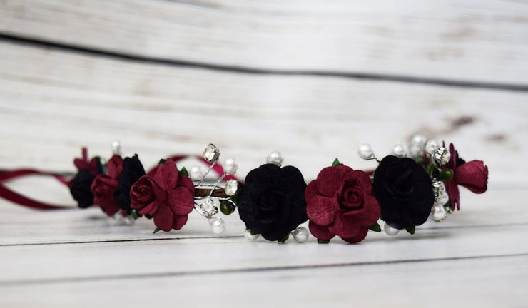 Handcrafted Black and Burgundy Pearl Flower Crown