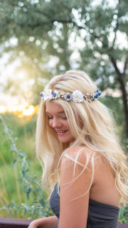 Handcrafted White and Dusty Blue Glitter with Teardrop Crystals Flower Crown