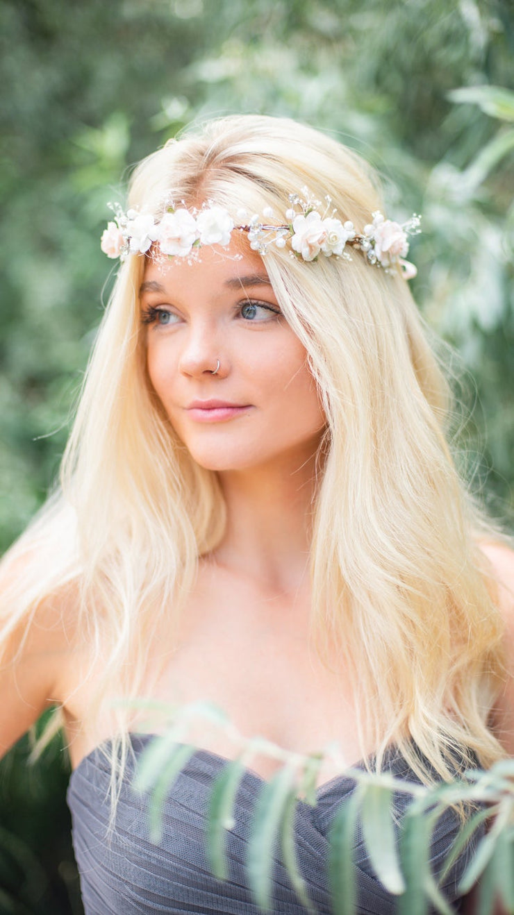 Handcrafted Snow Dusted Blush Pearl Flower Girl Crown