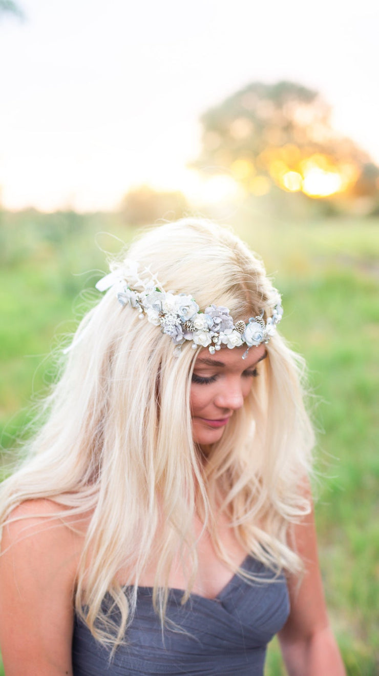 Handcrafted Statement Snow Queen Bridal Flower Crown