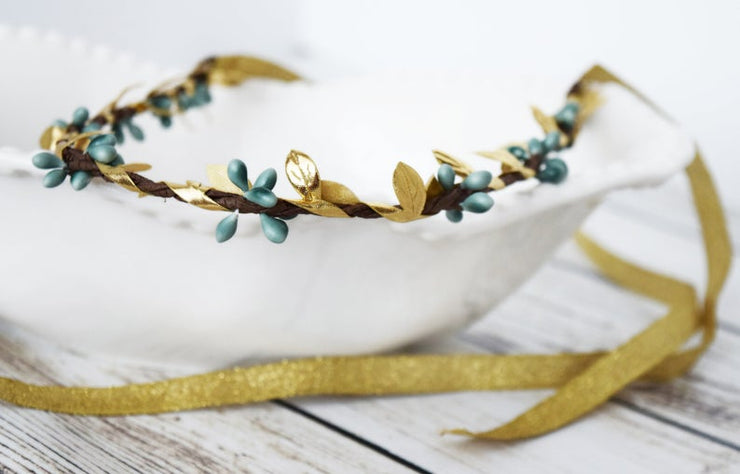 Handcrafted Simple Teal and Gold Leaf Crown
