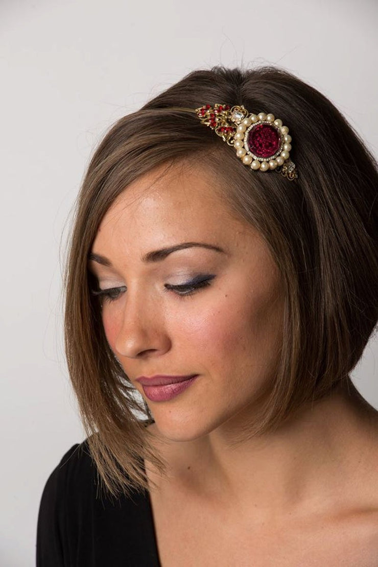 The Garnet Pearl Vintage Jewelry Collection Headband