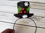 Handcrafted Mini Frosty Snowman Top Hat Headband