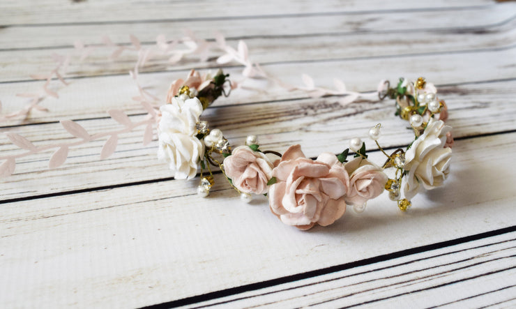 Handcrafted Blush and Off White Flower Crown