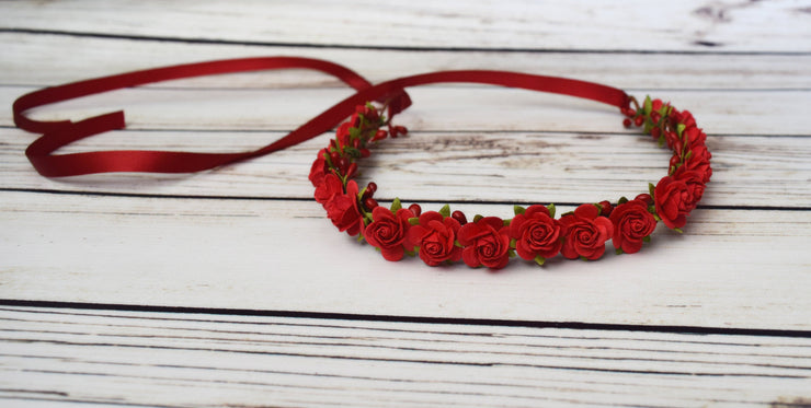 Small Red Roses Flower Girl Crown Bohochic Wedding Hair Bridal Halo Bridesmaid Headpiece