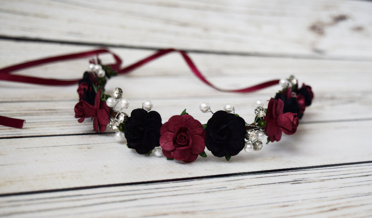 Black and Burgundy Flower Crown with Pearls Crystals Flower Girl Bridal Wedding Vintage Hair Wreath Halo Accessory
