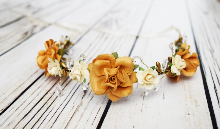 Handcrafted Honey Amber Cream Flower Girl Crown Fall Bridal Hair Wreath Small Bridesmaid Crystal Headband Boho Wedding Yellow Girls Hair Accessory