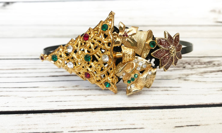 Gold Christmas Tree Poinsettia Bell Vintage Jewelry Collection Headband Bridal Holiday Hair Accessory Side Tiara