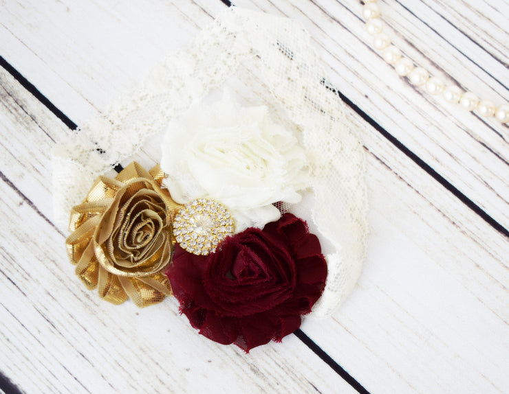 Handcrafted Burgundy Ivory and Gold Lace Headband