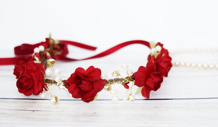 Handcrafted Red Pearl Flower Girl Crown